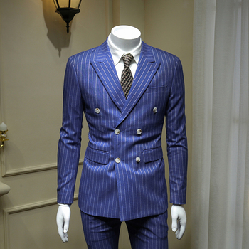 XM GEEKI European and American Gentleman Sky Blue Double-breasted Men's Suits British Business Dress Striped Suit Blazer 365wt43