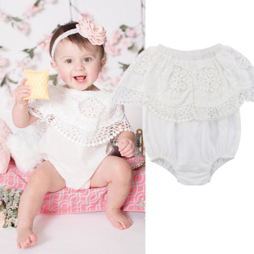 Solid Color Infant Baby Girl Hollow Bodysuit Lace Floral Print Ruffle Jumpsuit Summer Clothes Sleeveless Tassel Fashion Bodysuit