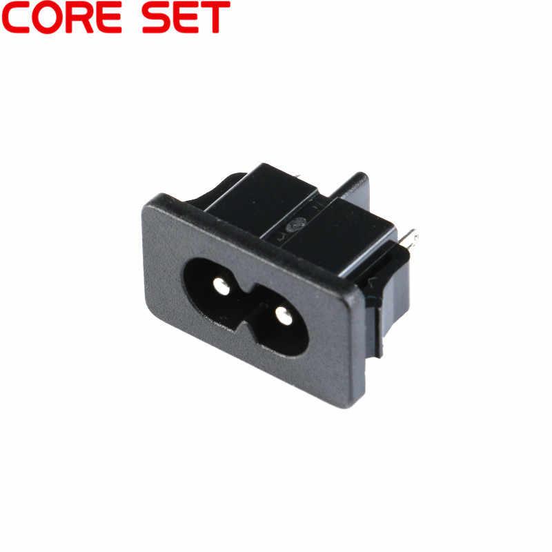 5ชิ้นAC250V 2.5A IEC320 C8ชาย2 Pinsสีดำไฟฟ้าปากน้ำซ็อกเก็ตแผงฝังตัว