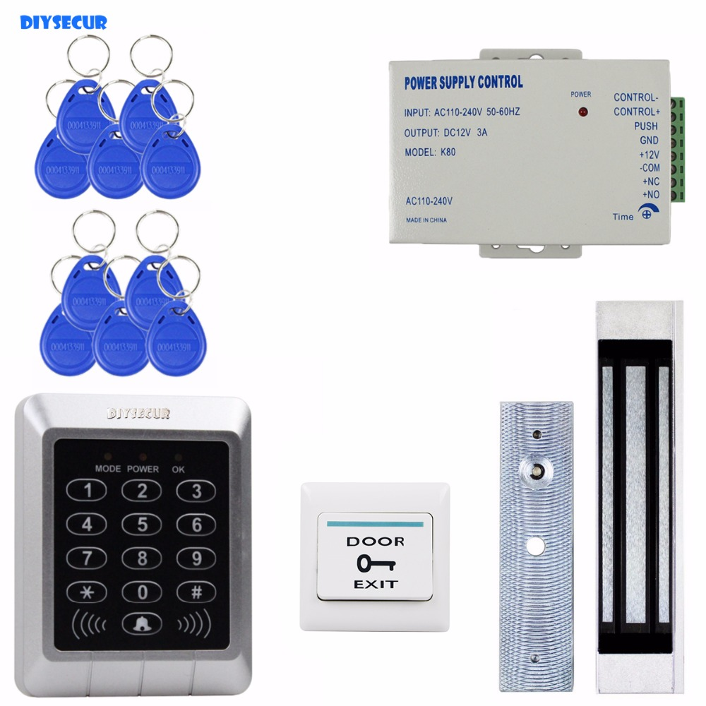 DIYSECUR Full Complete 125KHz Rfid Card Reader Door Access Control Security Kit + 180KG Magnetic Lock For Home Improvement waterproof card reader 125khz rfid card reader door access control system for home security for home security f1705h
