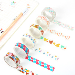 1 pçs diy menina coração washi fita de papel decorativo fita adesiva fitas de mascaramento adesivos tamanho 15mm * 5m fita adesiva escola escritório