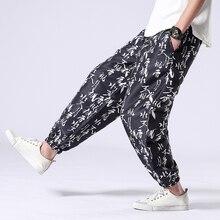 Льняные мужские модные штаны для бега с цветочным принтом, повседневные летние свободные рабочие штаны в китайском стиле