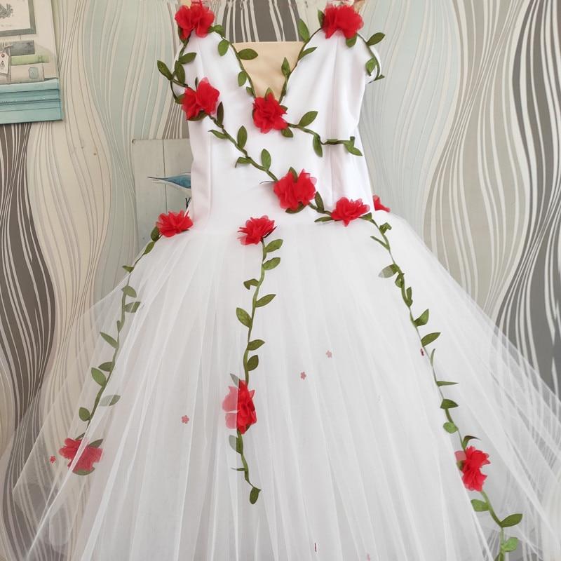 Профессиональная балетная юбка-пачка для девочек с белыми цветами балетное платье для девушки, дети, ребенок, платье балерины, детское Танцевальный костюм - Цвет: see chart