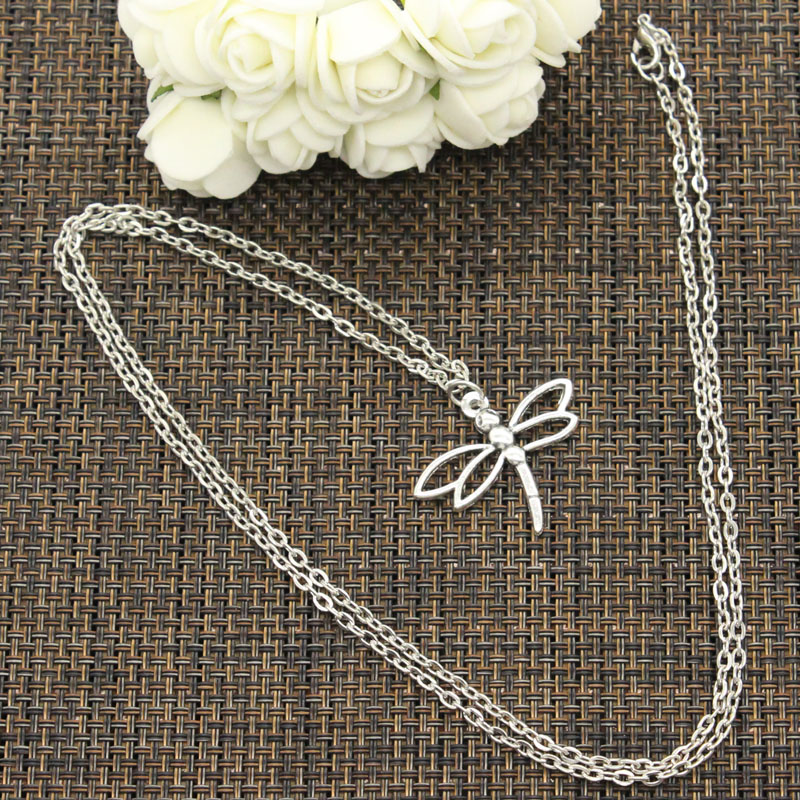 New Fashion Necklace hollow dragonfly 32*27mm Silver Pendants Short Long Women Men Colar Gift Jewelry Choker