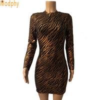 2017 women new style leopard backless celebrity bandage dress color gold long sleeve elegant bodycon dress drop shipping HL509