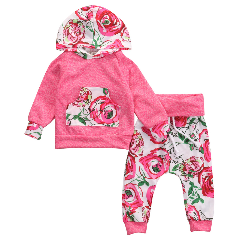 2016 Autumn Baby Girl Clothes Floral Newborn Infant Bebes Hooded Sweatshirt Top Pant 2pcs Outfit Suit Bebek Giyim 0-18M 2017 newborn baby boy girl clothes floral infant bebes romper bodysuit and bloomers bottom 2pcs outfit bebek giyim clothing