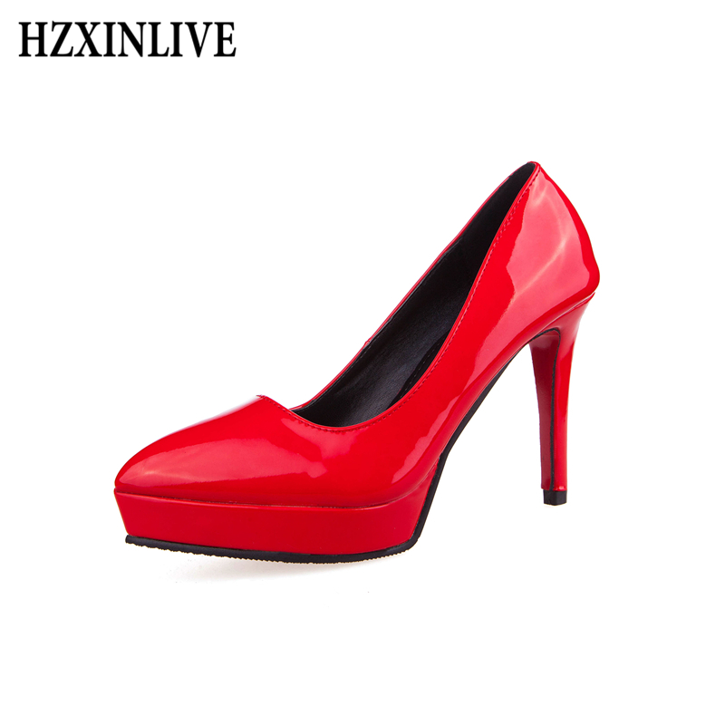 HZXINLIVE Women Pumps Extreme High Heels Shoes Pointed Toe Thin Heels Ladies Shoes Red Platform Luxury Wedding Woman Shoes women pumps colorful rhinestone wedding shoes thin heels high heels red shoes woman married bridal shoes single women s shoes
