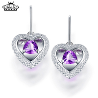 DELIEY High Quality Genuine 925 Sterling Silver Natural Purple Amethyst Hearts Drop Earrings For Women Fine