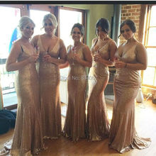 Sexy V neck Mermaid Women formal Gowns vestido madrinha 2017 Sweep Train Elegant Long Party Bridesmaid Dresses for Weddings