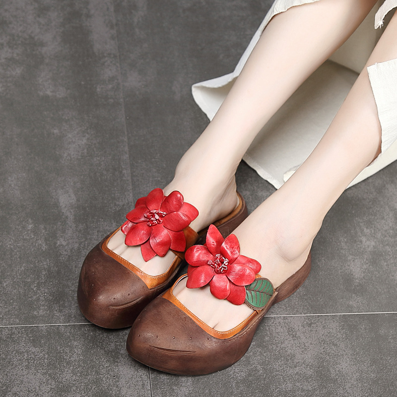 Patent leather Ladies' Slippers Summer Baotou Handmade Sandal Retro Flower Cool Slippers Women Shoes Medium Heel