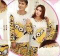 Новая Мода 2015 весна осень пижамы Набор Ночь с длинными рукавами мультфильм любители домашняя одежда совпадающие пары взрослых баловень пижамы наборы