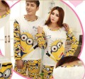 New Fashion 2015 spring autumn pajamas Set Night  long-sleeve cartoon lovers homewear couples matching adult minion pajamas sets