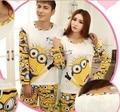 New Fashion 2015 spring autumn pajamas Set Night  long-sleeve cartoon lovers homewear couples matching adult minion pajamas sets