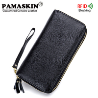 PAMASKIN RFID Blocking Long 2018 Women Wallets Double Zipper Compartment Premium Genuine Leather Female Day Clutch