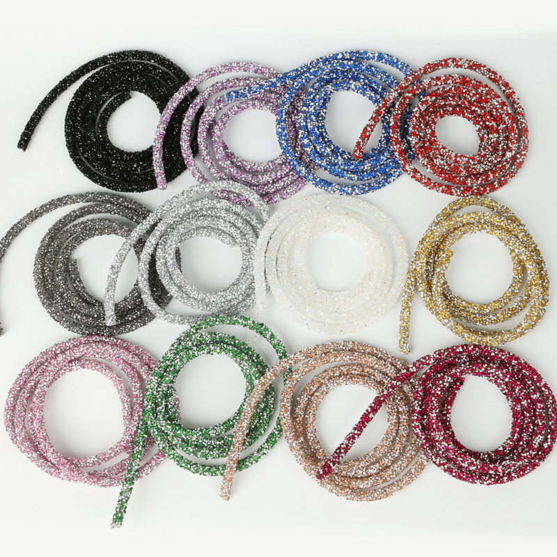 1m/lot 7mm Fashion Soft Tube Jewelry Cord Rope String With Resin Rhinestone For Jewelry Making Necklace Bracelet DIY