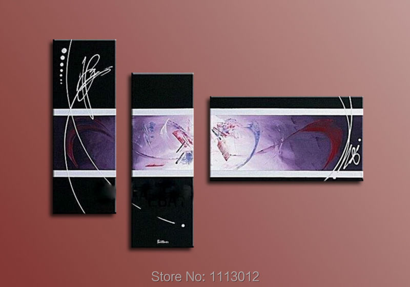 Hot Sale Hand Painted Modern Abstract Oil Painting Line Wall Art On Canvas Set 3 Panel Home Decoration Picture For Living Room