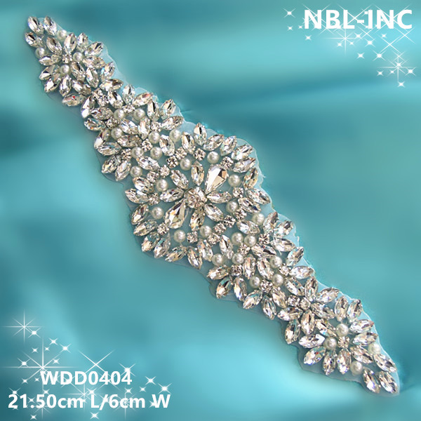 30 PIECES Wholesale bridal beaded sewing rhinestone pearl applique for wedding dresses sash DIY iron