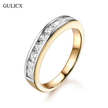 GULICX Simple Circle Channel Set 2017 Romantic Engagement Accessories Gold-color Row Cubic Zirconia Rings For Women New(China)