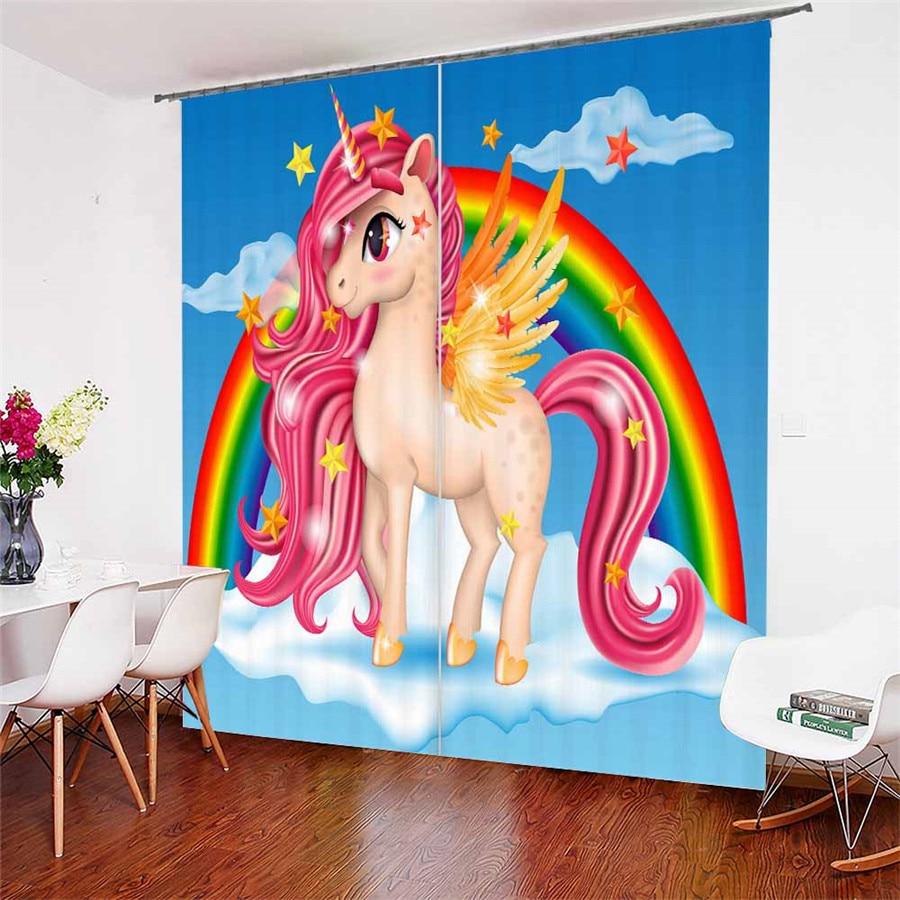 3D fenêtre rideaux bande dessinée licorne imprimer pour salon literie chambre décor à la maison tapisserie mur tapis rideaux Cotinas # DJS19