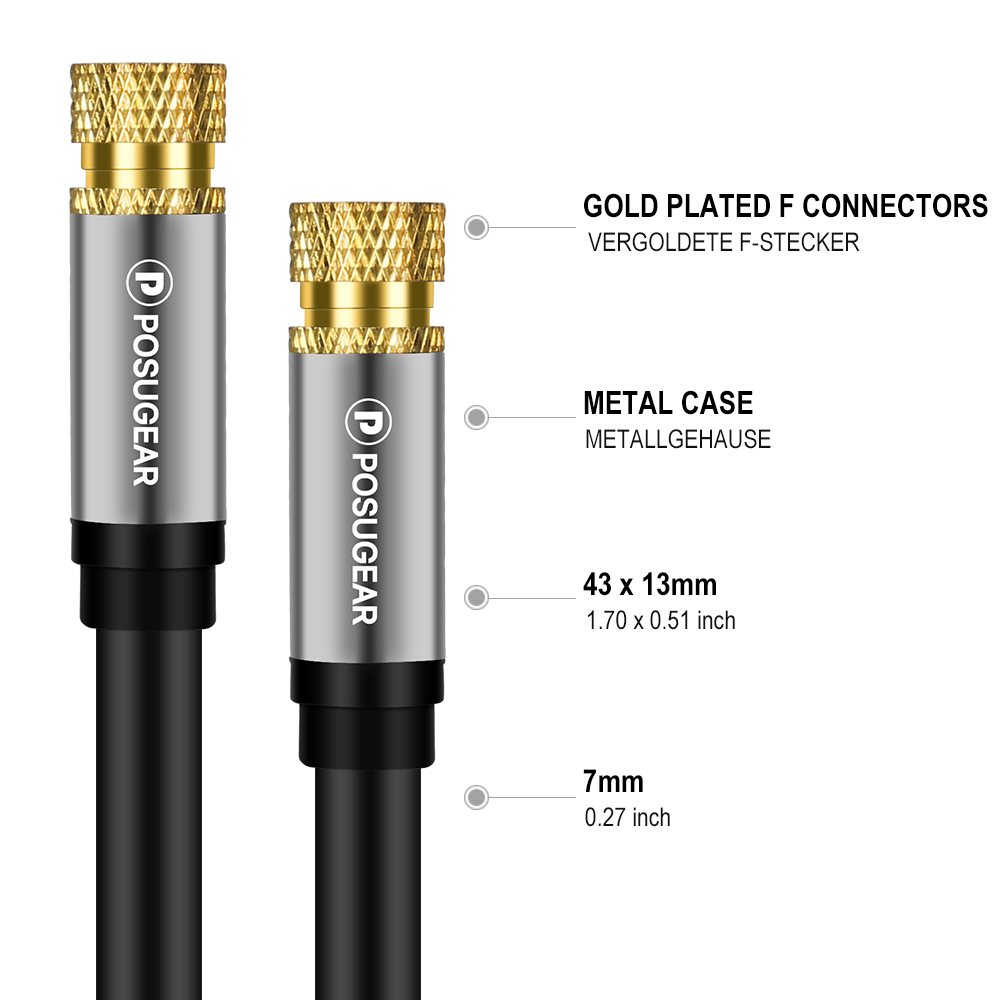 Posugear SAT Antenna Coaxial Cable F Type HDTV Satellite Gold plated Male to Male TV VCR DVD Digital Audio Video Cable Aerial
