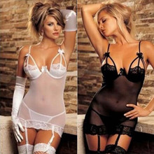 2016 new sex products sexy lingerie hot perspective chemise sleepwear open bra+G-thongs erotic lingerie set black white