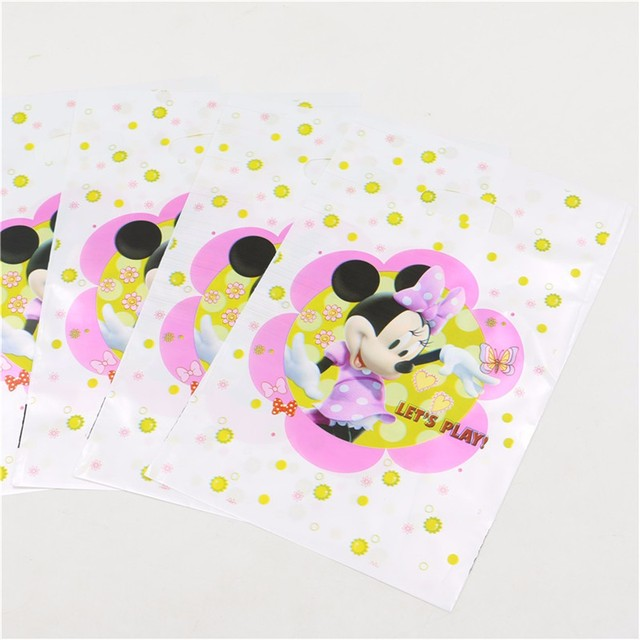 20PCS Minnie Mouse Print Gift Bag For Theme Happy Birthday Party Decoration Candy Loot