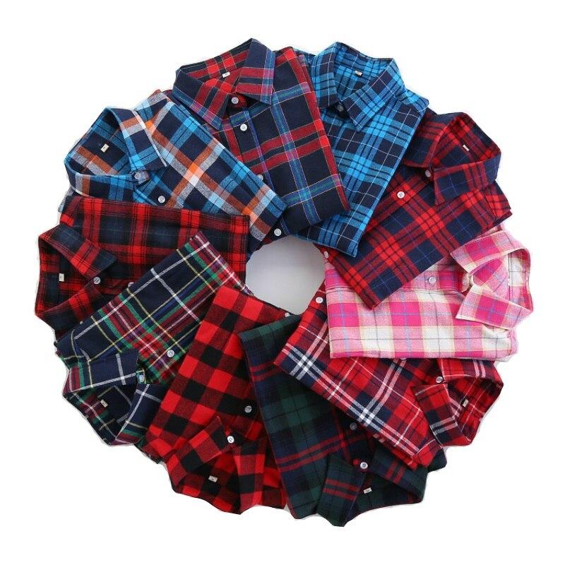 2016 Fashion Plaid Shirt Female College style women's Blouses Long Sleeve Flannel Shirt Plus Size Cotton Blusas Office tops