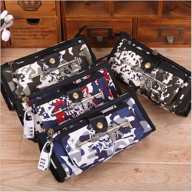 2018 Camouflage Canvas Pencil case Multi-functional large capacity student pencil bag for boy with Code Lock penalty 3003 big capacity high quality canvas shark double layers pen pencil holder makeup case bag for school student with combination coded lock