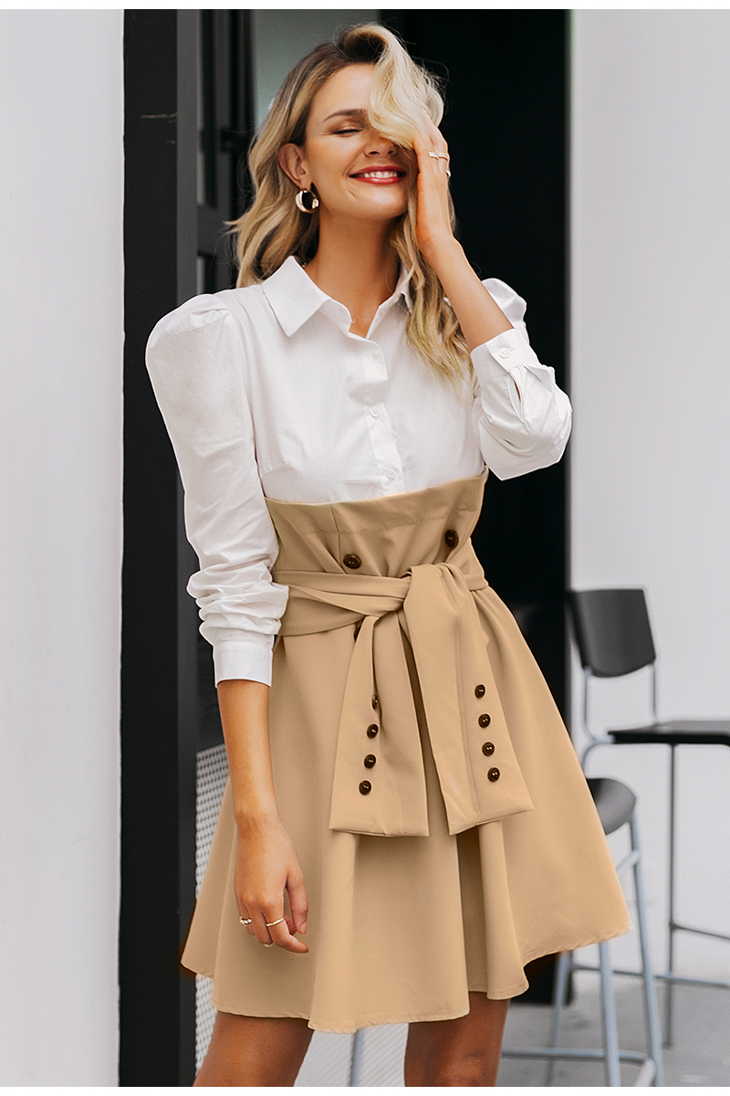 Simplee Patchwork puff sleeve shirt dress women Elegant button sash belt office ladies dresses Autumn ladies khaki work dress 8