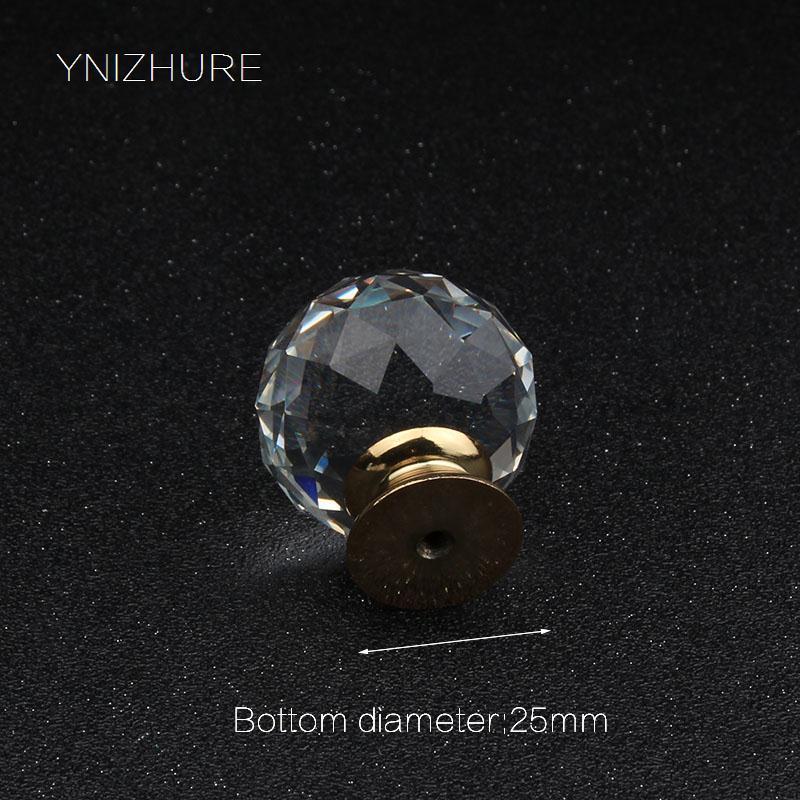 40ミリメートル高級ゴールドメタルベースk9クリスタル透明ガラスハンドル引き出しキャビネットドア浴室アクセサリー家具ドレッサーノブ  グループ上の 家のリフォーム からの キャビネット プル の中 3