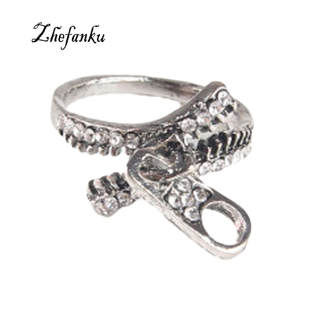 2017 Fashion Zipper Made Retro Rings Hot Selling The Unique Design Fashion Cheap Jewelry Antique Silver Plated Punk Alloy Ring
