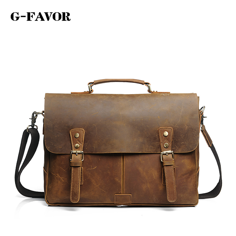 лучшая цена Vintage Crazy horse leather men Crossbody bag big Genuine Leather men messenger bag large shoulder bag Tote Handbag brown