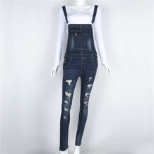 2017 Summer Hole Jeans Denim Jumpsuit Overalls Rompers Women One piece Casual Bodysuit Long Pencil Suspenders Trousers jumpsuits
