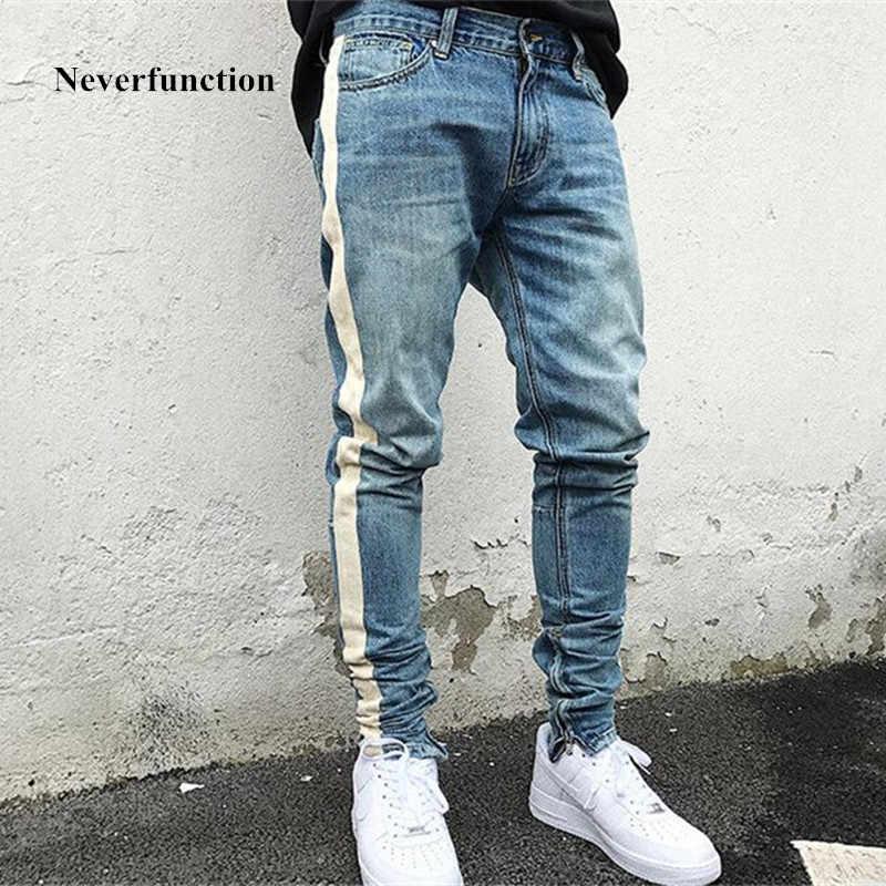 Kanye west цвет синий, черный; Большие размеры 34–43 обтягивающие мужские джинсы в полоску, стиль хип-хоп рваные Эластичные зауженные джинсы фирменные джинсы с разрезами джинсовые штаны дизайн