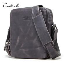 Bandolera Vintage para hombre de contact, bandoleras de piel genuina de Caballo Loco, diseño de marca, bolsa masculina, Bolsos de viaje de alta calidad