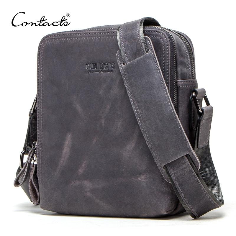 CONTACT'S męskie w stylu Vintage torba szalony koń prawdziwej skóry torby na ramię marka projekt mężczyzna torba wysokiej jakości podróży Bolsos w Torby z długim paskiem od Bagaże i torby na  Grupa 1