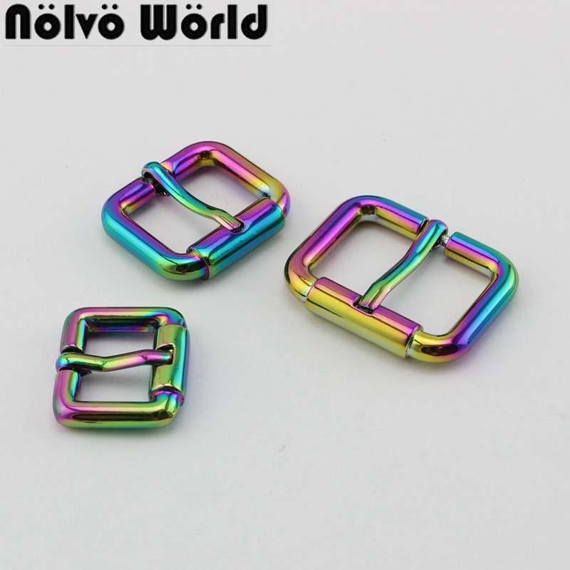 10pcs 50pcs 19mm 24mm 31mm Rainbow Polished Color Turnbuckle Zinc Alloy Square Pin Buckle Metal Bags/belts Buckles