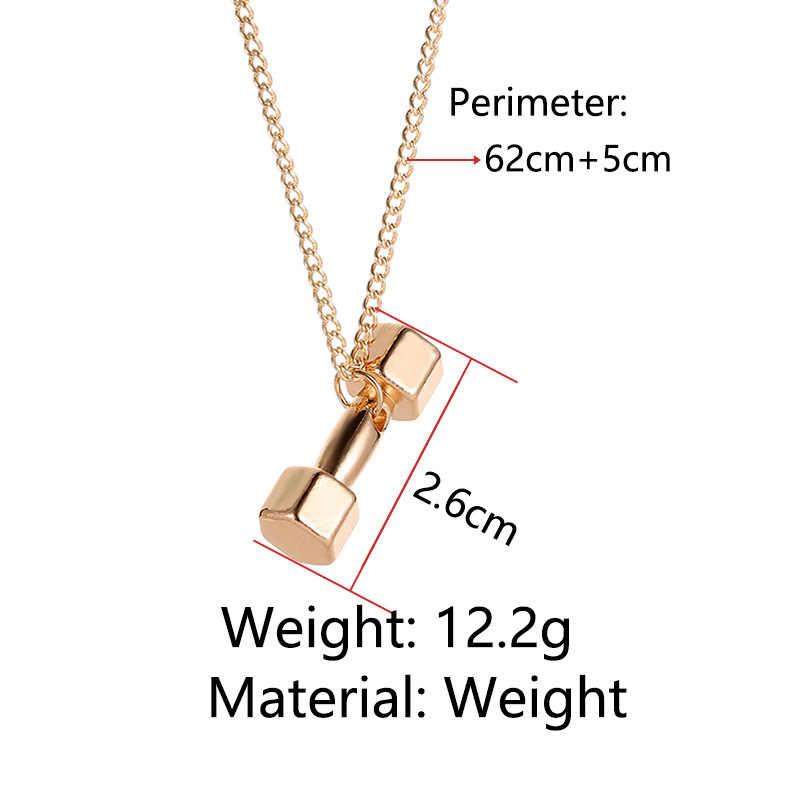 Brzana hantle wisiorki naszyjniki złoty srebrny kolor sport Fitness Link Chain Chokers dla kobiet mężczyzn oświadczenie urok biżuterii