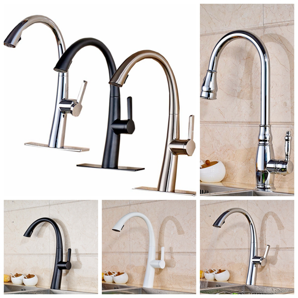 ФОТО Solid Brass Pull Out Kitchen Faucet Mixer Tap Single Handle Single Hole Mixer Tap Faucet Deck Mounted