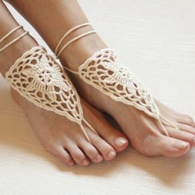 bb2ed41606b2 White crochet barefoot sandal