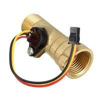 1 UNID Nueva CC 5 V 15mA Latón Rosca de 1/2 de Pulgada de Efecto Hall Sensor de Flujo de Agua Interruptor de Medidor De Flujo 1.25-30L/min Circuitos Integrados