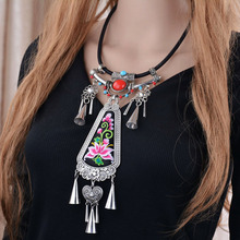 ZA Brand Boho Bead Choker Silver Rivets Tassel Kolye Heart Pendant Anime Long Rope Embroidery Statement Chokers Necklaces