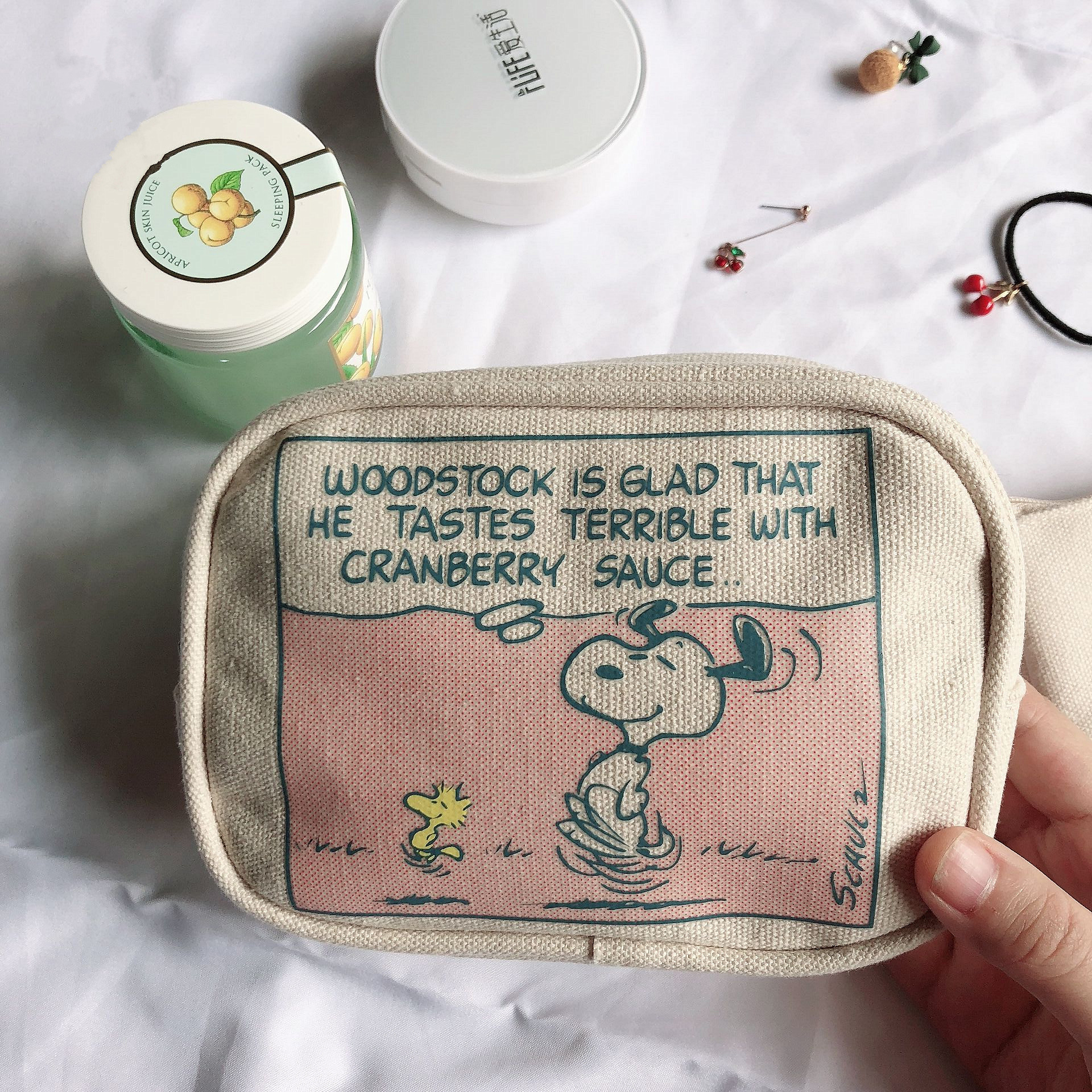 SIXONE Two-piece Suite Cartoon Peanut Rogue Dog Pencil Case Small Wallet Cosmetic Bag Student Pen Bag Personality Storage Bag