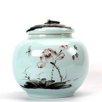 Longquan Celadon Large Tea Canister Ceramic Puer Sealing Jar Black Medlar Packing Box Green Tea Barn