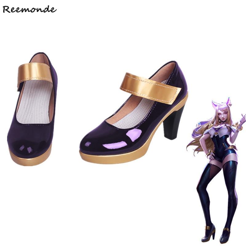 Game LOL KDA AHRI Cosplay Leather Shoes High Heels LOL K DA Cosplay Purple Black High