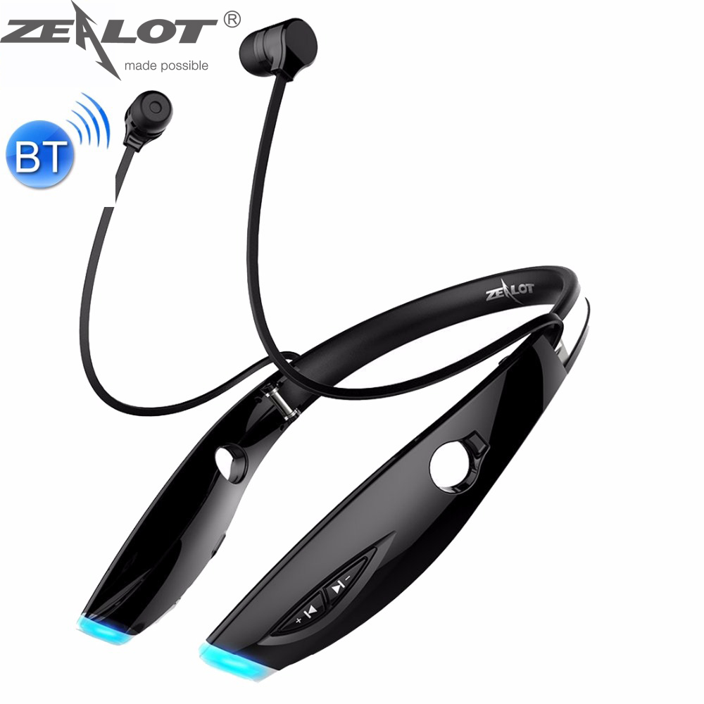 ZEALOT H1 Stereo HiFi Wireless Neck Earphone Sports In-ear Earphones with HD Mic for Mobile Phones & Tablets & Laptops hot high quality sports stereo earphones with mic 3 5mm universal use for mobile phones mp3 mp4 gg11101