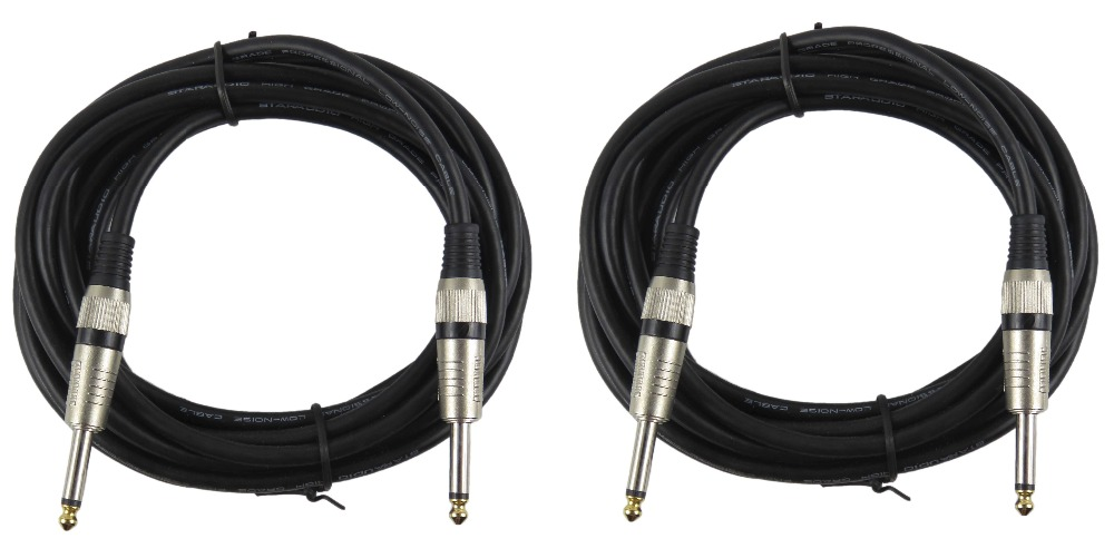 STARAUDIO SSSC 450CM 2Pcs 15 FT(4.5m) Instrument Guitar Audio Speaker 1/4 to 1/4 Mono Male Cables Cord