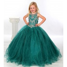 Hunter Green Flower Girl Dresses Ball Gown Beaded Scoop Little Girls Pageant Dress with Keyhole Back 2016 Robe enfant mariage