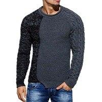 Осенне-зимний Новый мужской свитер, Модный хлопковый пуловер с круглым вырезом в стиле пэчворк, свитер для мужчин, облегающий свитер с длинн...