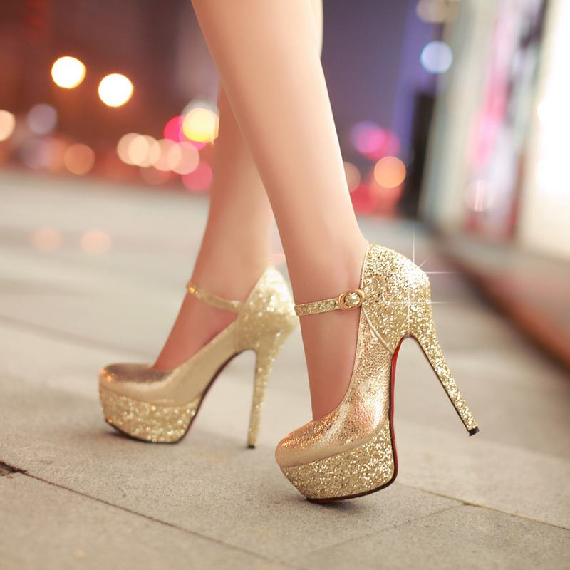 Gold High Heels Cheap - Qu Heel